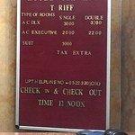 Sign board showing Hotel Tariff of Rahi Illawart