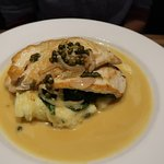 GREAT Chicken Piccata on wilted spinach and garlic mashed