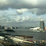 View from harborview room, Centraal Station in foreground