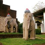 The main entrance with an elephants on Christmas suit.