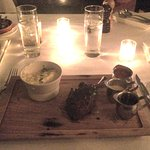 Elk rack and buttermilk mashed potatoes [considerably brightened to compensate for ambiance].