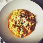 Home made tagliatelle with seafood