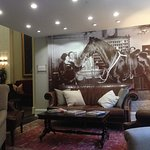 Famous photo on wall in the lobby seating are.
