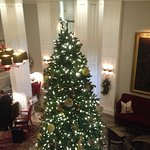 Part of the lobby decorated for Christmas.