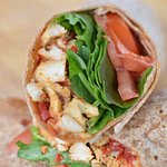 Gaspe wrap with grain-fed chicken and sun-dried tomato.