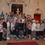 Group photo in the beautiful Synagogue of Chalkis