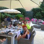 Breakfast at the courtyard of Hotel Indigo