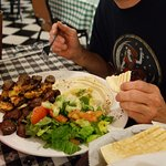 Combo kebab: chicken, beef, and kafta (ground spiced lamb)