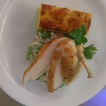 Chicken beast, dauphinois potato with bacon, pea and cream fricassee..... yum!