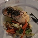 Swordfish with mashed potatoes and veggies