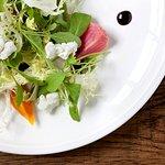 Roasted Baby Beet Salad, goat cheese, arugula, frisse, balsamic glaze