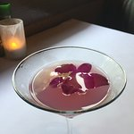 special martini with edible flowers-- yum!