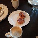 Pastries with coffees.