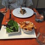 Tuna tartare & smoked salmon with salad & frites, rose wine