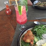 Amazing fish tacos and watermelon smoothie