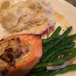 Salmon stuffed with seafood dinner was heavenly!