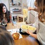 serving pasta