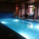 Heated salt water pool inside the Spa