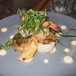 Seafood Sampler Scallops, Prawns, Crab Cakes, Miso Aioli, Lemon, Herb Salad