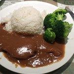 Pork with Rice and plenty of gravy
