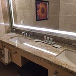 Double sinks and huge vanity in tower room