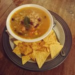 Mexican vegetable broth with tortilla chips