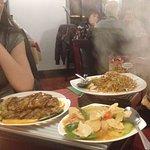Chicken with orange, chicken with garlic and chilli, fillet steak green peppers & black bean sau