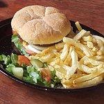 Hamburger and Chips at Dejo Deli