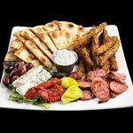 Greek Sampler - Loukaniko(Greek Sausage), Fried Zucchini, Feta Cheese, Tzatziki and Kalamata Oli