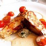 3-Gang-Business-Lunch: Kartoffel-Rosenkohl-Suppe, Steinbeißerfilet auf Kräuterrissotto, Käsekuch