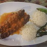 Yasar's special kofte kebab (with aubergine/ garlic & chilli sauce} and rice pilaf