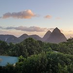 Morning pitons views from the Calabash deck.