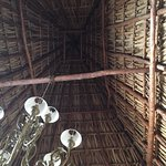 Thatched roof open to air below