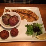 Stuffed flounder, corn fritters, and just-right potatoes. Yum!