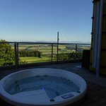 Whirlpool outside in terrace with hot spring thermal water
