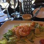 dirty martini and shrimp caesar salad