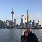 My wife and I with The Bund as our backdrop
