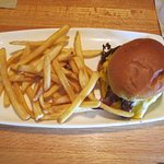 Triple Bacon Burger and fries