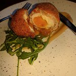 Freshly made scotch egg