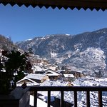 Winter in Manali - front of hotel (view of Manu Temple & old Manali Village)