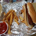 Plain hot dog with fries