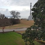 The view from the deck overlooking the James River and the Yorktown Memorial