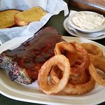 Half rack Ribs, Cole Slaw & Onion Rings