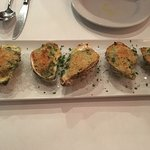 Lovely wine and oysters Rockefeller