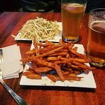 Truffle French Fries, Sweet Potato Fries with honey, and a local brew!