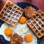 Chicken and waffles and eggs! The waffles are amazingly rich and taste like cake batter! Would e
