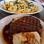 Vegetable Pasta and Meatloaf with Mash Potatoes