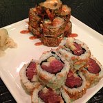 Miso caramel crab roll and spicy tuna roll
