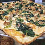 Brooklyn Style Broccoli Rabe and Sausage Pizza