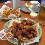 bacon wrapped wings and shrimp